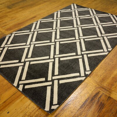 Storyvale Black Area Rug Rug Size: Rectangle 5 x 8