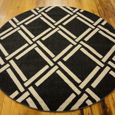 Storyvale Black Area Rug Rug Size: Round 6