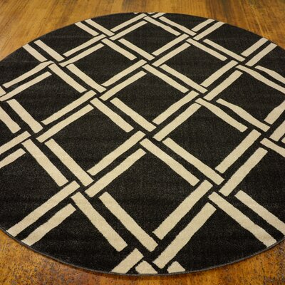 Moore Black Area Rug Rug Size: Round 8