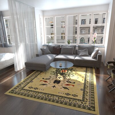Lerma Cream/Green Area Rug Rug Size: Square 8'
