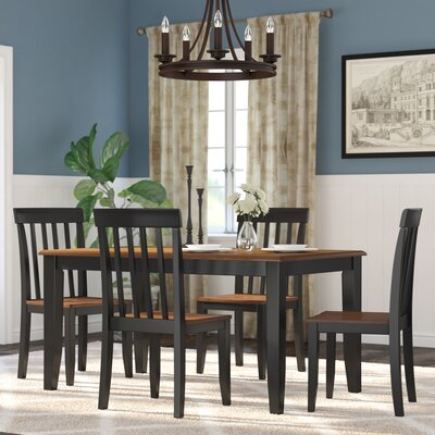 Hardcastle 5 Piece Dining Set Finish: Black / Cherry