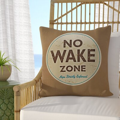 Golden Beach Nap Zone Word Throw Pillow Size: 26 H x 26 W, Color: Beige/Taupe
