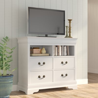 Corbeil 4 Drawer Media Chest Color: Beige
