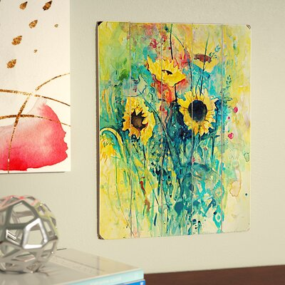 Watercolor Sunflowers Painting Print Size: 16