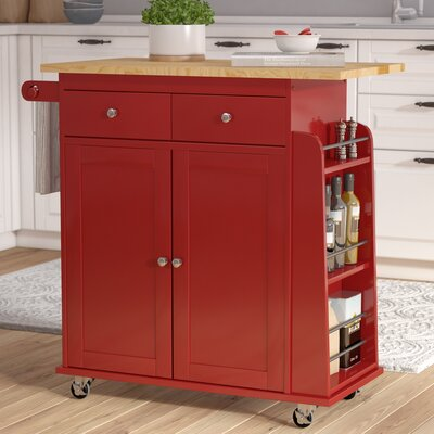 Ferraro Kitchen Cart with Wooden Top Base Finish: Red