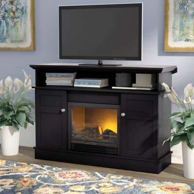 Grand View 44 TV Stand with Fireplace Color: Black