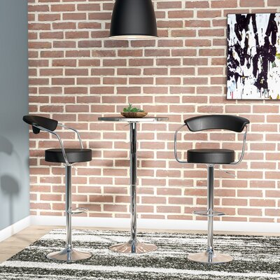 Stepney Adjustable Height Swivel Bar Stool Upholstery: Black