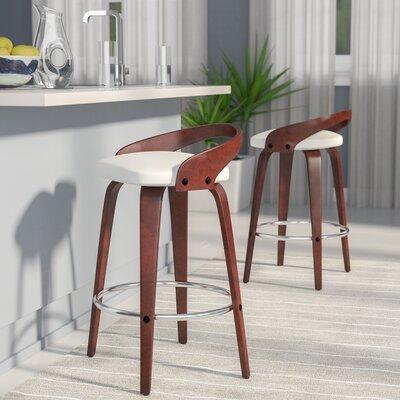 Bridgett 24.25 Swivel Bar Stool Upholstery: Cherry/White