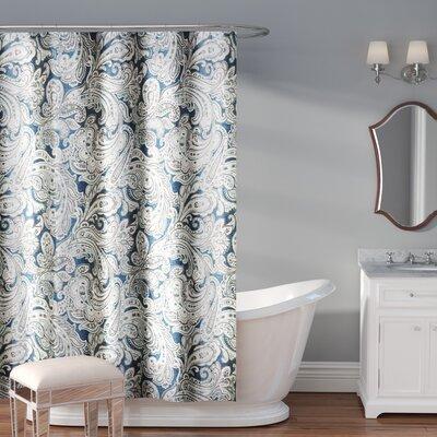 Hubert Cotton Shower Curtain Color: Blue