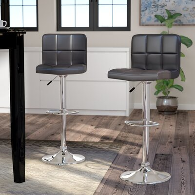 Andres Adjustable Height Swivel Bar Stool Upholstery: Black