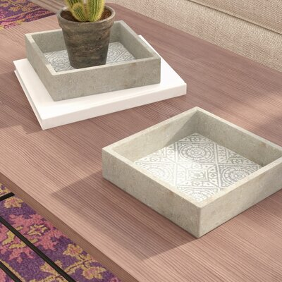 Bungalow Rose Julia Tiled Square Tray (Set of 2)