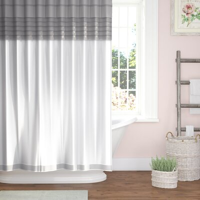 Merle All-in-One Shower Curtain Set Color: Grey / White