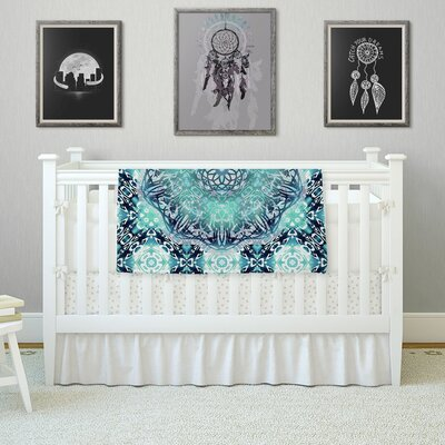 Nina May Aqua Ikat Batik Mandala Mixed Media Fleece Throw Size: 60 W x 80 L