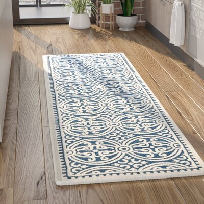 Fairburn H-Tufted Wool Navy Area Rug Rug Size: Runner 26 x 6