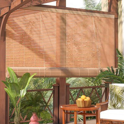 Outdoor Roller Blind Size: 96 W x 72 L, Color: Woodgrain