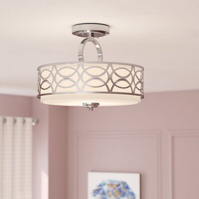 Helina 3-Light Semi Flush Mount Finish / Shade Finish: Polished Nickel / Slate Gray Fabric