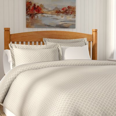 Perley Quatrefoil Duvet Cover Set Color: Gray/White, Size: Queen