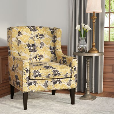 Agnes Wingback Chair Upholstery Pattern: Floral/Flower, Upholstery Color: Yellow/Blue/Beige