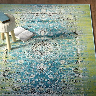 Neuilly Blue/Green Area Rug Rug Size: 5 x 8