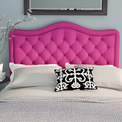 Turin Tufted Upholstered Panel Headboard Upholstery: Magenta, Size: Twin