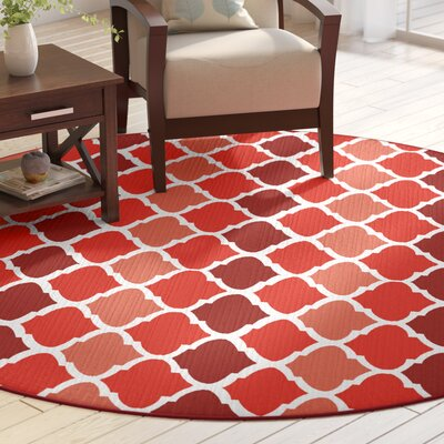 Alice Red Indoor/Outdoor Area Rug Rug Size: Round 8