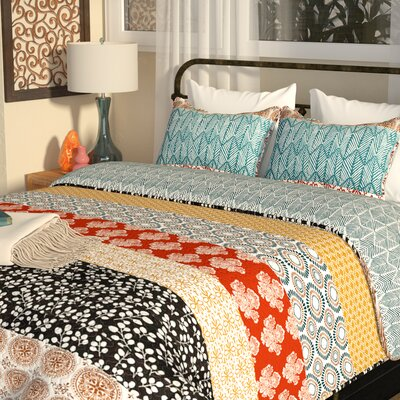 Prescott Stripe 3 Piece Reversible Quilt Set Size: Full/Queen