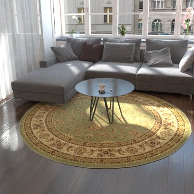 Niles Light Green Area Rug Rug Size: Round 8