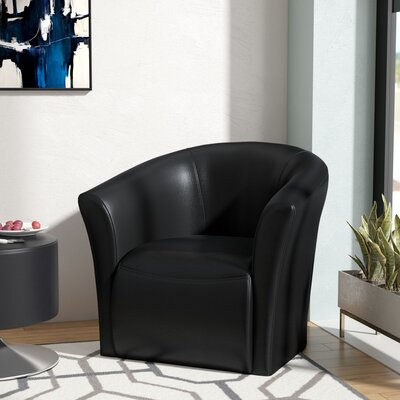 Elisha Swivel Barrel Chair Upholstery: Black