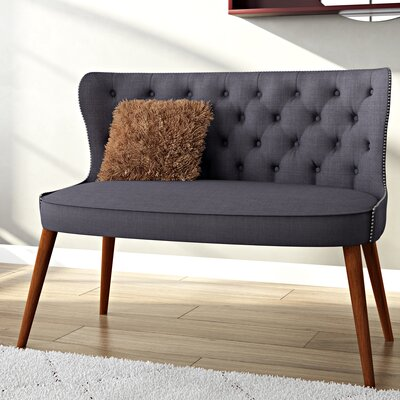 Sempronius Wood Upholstered Button-Tufting Loveseat Upholstery: Dark Gray