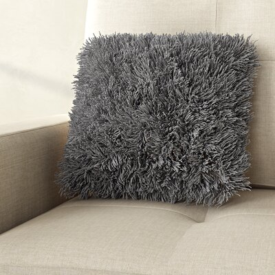 Shag Throw Pillow Color: Silver Tone