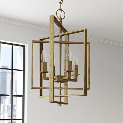 Yarnell 4-Light Foyer Pendant Finish: Antique Gold, Size: 14 H x 14 W x 14 D