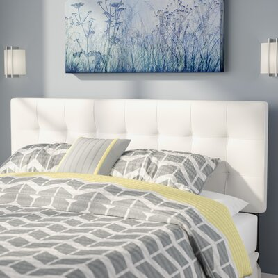 Francis Upholstered Panel Headboard Size: Full, Upholstery: White