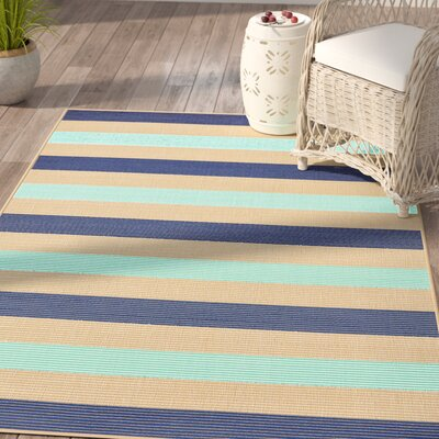 Larana Stripe Beige/Blue Synthetic Indoor/Outdoor Area Rug Rug Size: 410 x 76