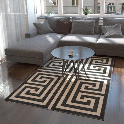 Ellery Black/Beige Area Rug Rug Size: Rectangle 33 x 53