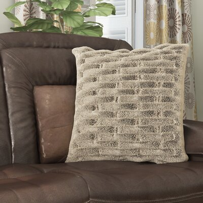 Kanesha Ruched Faux Fur Throw Pillow Color: Grey