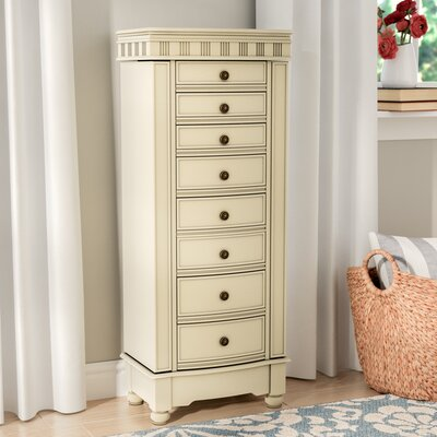 Obrien Jewelry Armoire with Mirror Finish: Cream