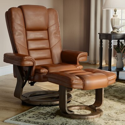 Albury Manual Swivel Recliner With Ottoman Upholstery: Brown Vintage