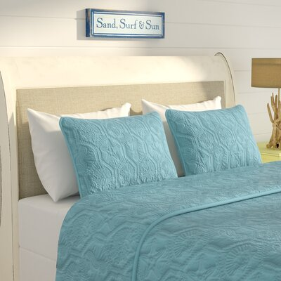 Sneads 3 Piece Quilt Set Color: Light Blue, Size: Queen
