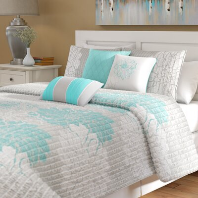 Broadwell Cotton 6 Piece Reversible Coverlet Set Size: Full / Queen, Color: Aqua