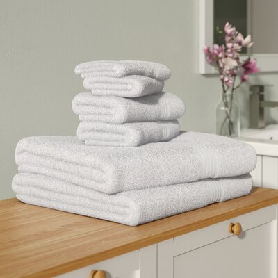 Currie 6 Piece Towel Set Color: White