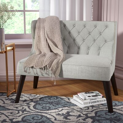 Aguayo Tufted Wing Back Settee Bedroom Bench Upholstery: Light Gray