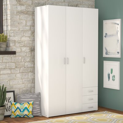 Minda 3 Drawer and 3 Door Armoire Finish: White