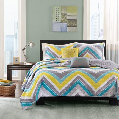 Elise Coverlet Set Color: Blue, Size: Twin / Twin XL