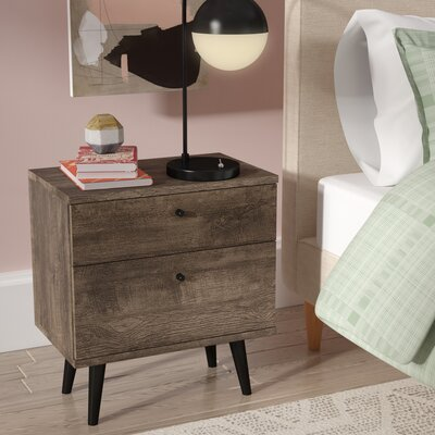 Norloti 2 Drawer Nightstand Finish: Distressed Brown