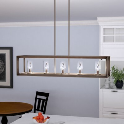 Thorne Modern 5-Light Kitchen Island Pendant Finish: Gunmetal Bronze, Shade Color: Clear Glass