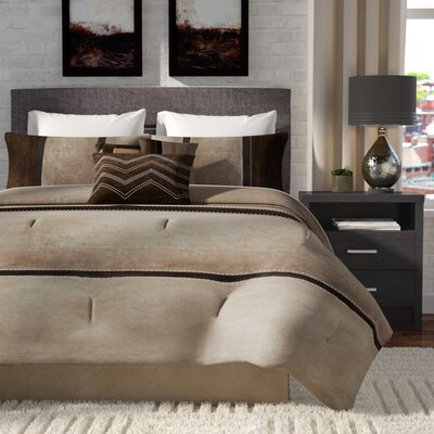 Nicolette 7 Piece Comforter Set Size: Queen, Color: Brown