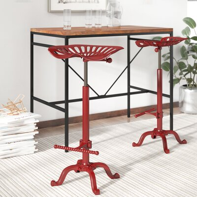 Elsinore Adjustable Height Swivel Bar Stool Finish: Red