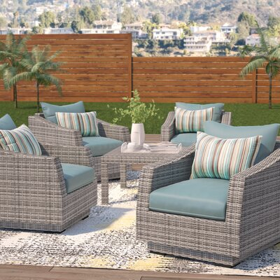 Melinda 5 Piece Deep Seating Group with Cushion Fabric: Bliss