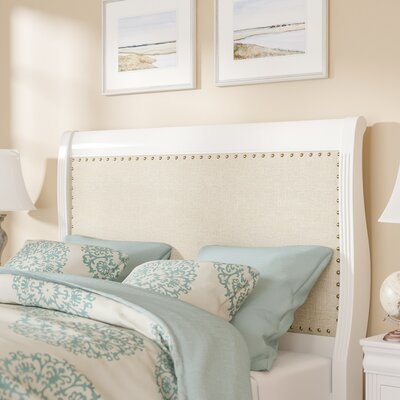 Hewitt Upholstered Sleigh Headboard Size: Queen, Color: Soft White