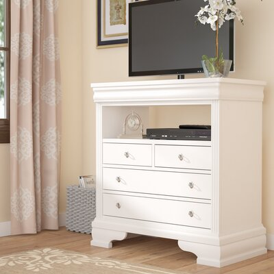 Hewitt 4 Drawer Media Chest Color: Soft White